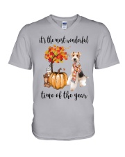 The Most Wonderful Time - Wire Fox Terrier V-Neck T-Shirt thumbnail