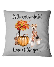 The Most Wonderful Time - Wire Fox Terrier Square Pillowcase thumbnail