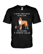 Wine and Smooth Collie V-Neck T-Shirt thumbnail