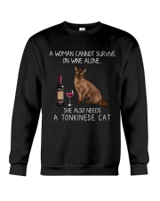 Wine and Tonkinese Cat Crewneck Sweatshirt thumbnail