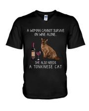 Wine and Tonkinese Cat V-Neck T-Shirt thumbnail