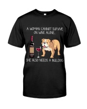 Wine and Bulldog Classic T-Shirt front