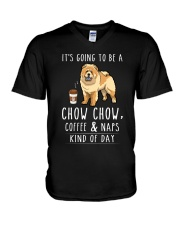 Chow Chow Coffee and Naps V-Neck T-Shirt thumbnail