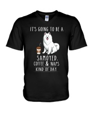 Samoyed Coffee and Naps V-Neck T-Shirt thumbnail