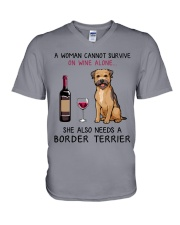 Wine and Border Terrier 2 V-Neck T-Shirt thumbnail