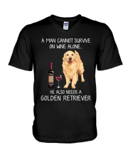 Wine and Golden Retriever - Man version V-Neck T-Shirt thumbnail