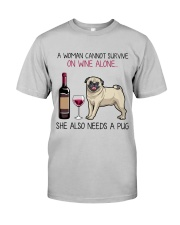 Wine and Pug 4 Classic T-Shirt front