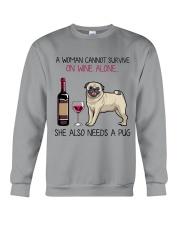 Wine and Pug 4 Crewneck Sweatshirt thumbnail
