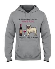 Wine and Pug 4 Hooded Sweatshirt thumbnail