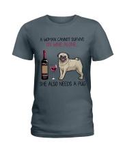 Wine and Pug 4 Ladies T-Shirt thumbnail