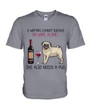 Wine and Pug 4 V-Neck T-Shirt thumbnail