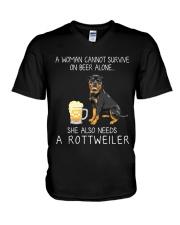Beer and Rottweiler V-Neck T-Shirt thumbnail