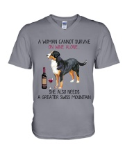Wine and Greater Swiss Mountain 2 V-Neck T-Shirt thumbnail