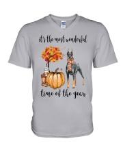 The Most Wonderful Time - Doberman Pinscher V-Neck T-Shirt thumbnail