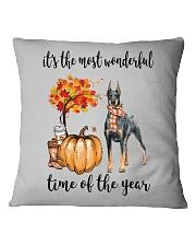 The Most Wonderful Time - Doberman Pinscher Square Pillowcase thumbnail