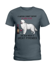 Wine and Great Pyrenees 2 Ladies T-Shirt thumbnail