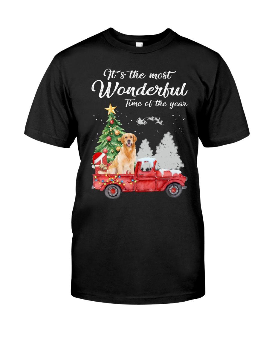Wonderful Christmas with Truck - Golden Retriever Classic T-Shirt