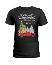 Wonderful Christmas with Truck - Golden Retriever Ladies T-Shirt thumbnail
