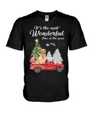 Wonderful Christmas with Truck - Golden Retriever V-Neck T-Shirt thumbnail