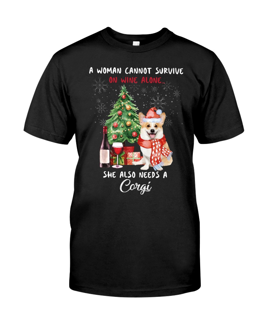 Christmas Wine and Corgi Classic T-Shirt