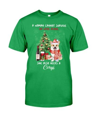 Christmas Wine and Corgi