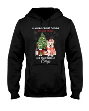 Christmas Wine and Corgi Hooded Sweatshirt thumbnail