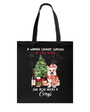 Christmas Wine and Corgi Tote Bag thumbnail
