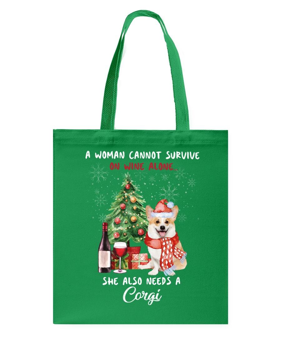 Christmas Wine and Corgi Tote Bag