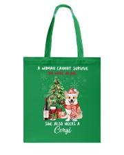 Christmas Wine and Corgi Tote Bag front