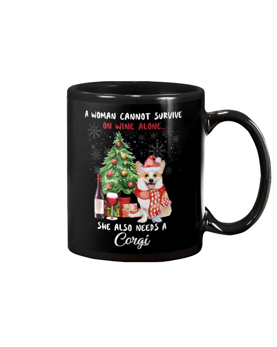 Christmas Wine and Corgi Mug
