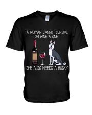 Wine and Husky V-Neck T-Shirt thumbnail