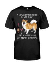 Wine and Icelandic SheepDog Classic T-Shirt front