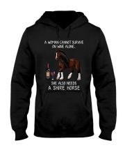 Wine and Shire Horse Hooded Sweatshirt thumbnail