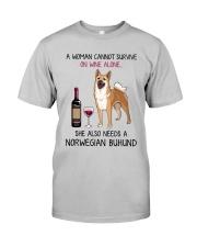 Wine and Norwegian Buhund 2 Classic T-Shirt front