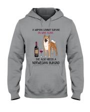 Wine and Norwegian Buhund 2 Hooded Sweatshirt thumbnail