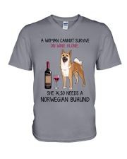 Wine and Norwegian Buhund 2 V-Neck T-Shirt thumbnail