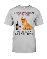 Wine and Golden Retriever 4 Classic T-Shirt front