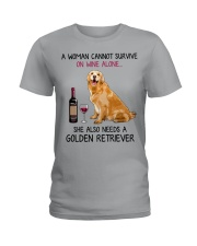 Wine and Golden Retriever 4 Ladies T-Shirt thumbnail