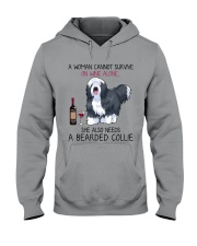 Wine and Bearded Collie 2 Hooded Sweatshirt thumbnail