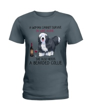 Wine and Bearded Collie 2 Ladies T-Shirt thumbnail