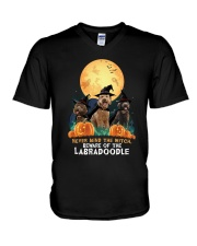 Howloween Labradoodle 2 V-Neck T-Shirt thumbnail