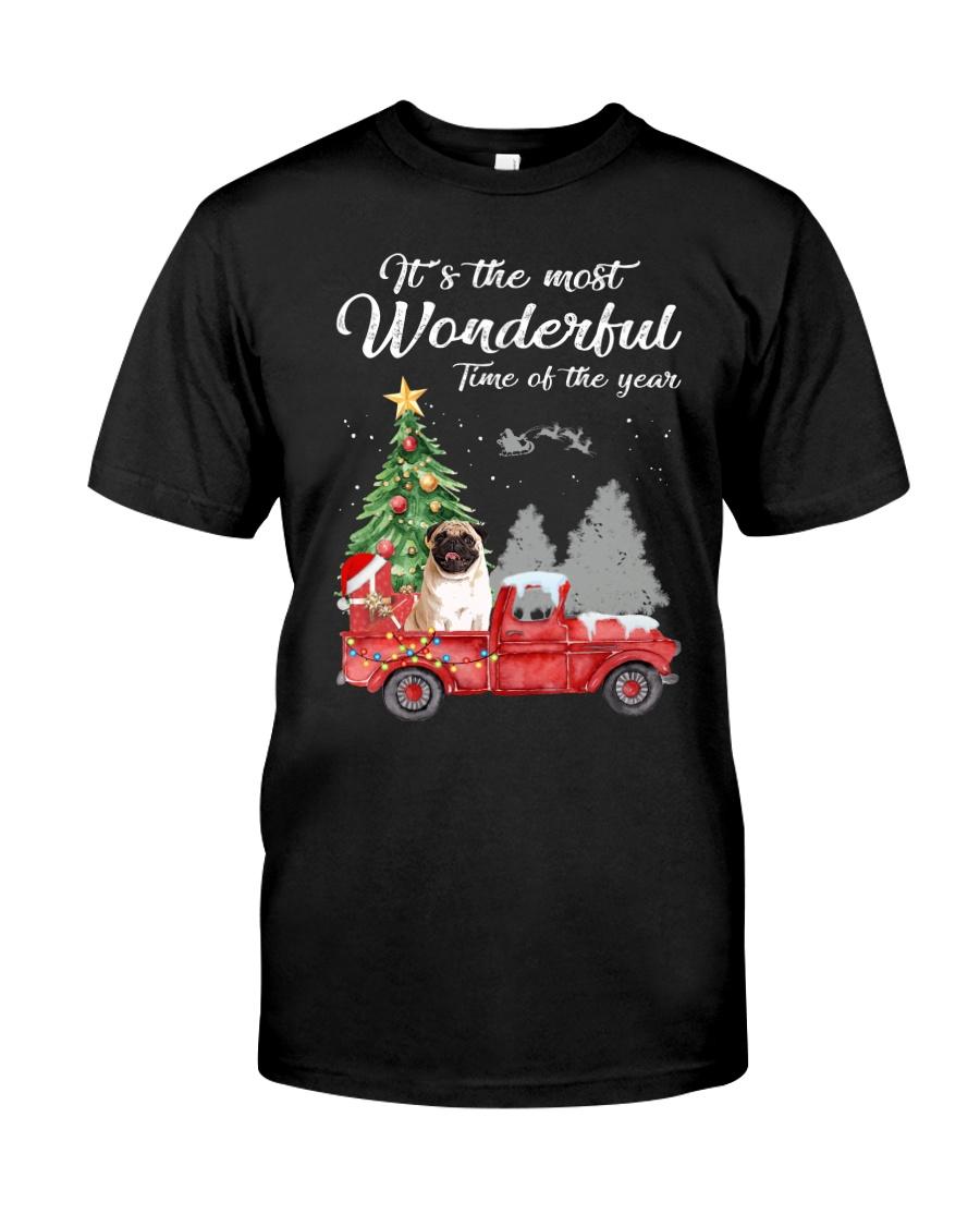 Wonderful Christmas with Truck - Pug Classic T-Shirt