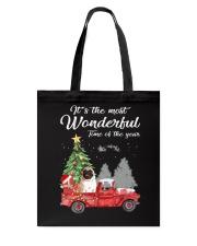 Wonderful Christmas with Truck - Pug Tote Bag thumbnail