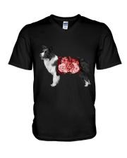 Flower and Border Collie  V-Neck T-Shirt thumbnail