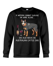 Wine and Australian Cattle Dog Crewneck Sweatshirt thumbnail