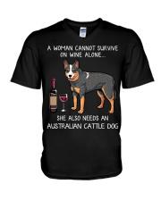 Wine and Australian Cattle Dog V-Neck T-Shirt thumbnail