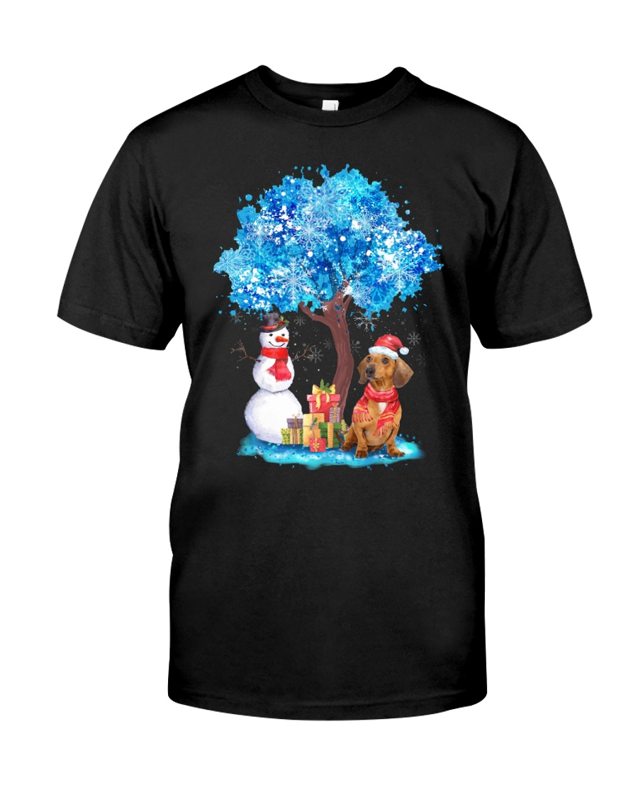 Snow Tree and Dachshund Classic T-Shirt