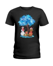 Snow Tree and Dachshund Ladies T-Shirt tile