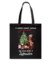 Christmas Wine and Chocolate Labrador Tote Bag front