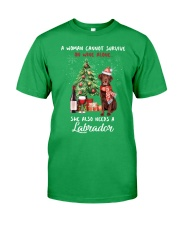 Christmas Wine and Chocolate Labrador Classic T-Shirt front